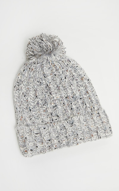 Grey Sparkle Rib Beanie Yarn Pom