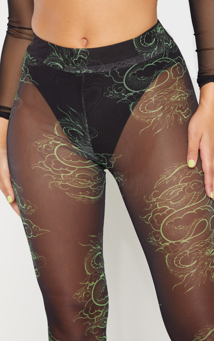 Neon Green Dragon Print Mesh Legging 6