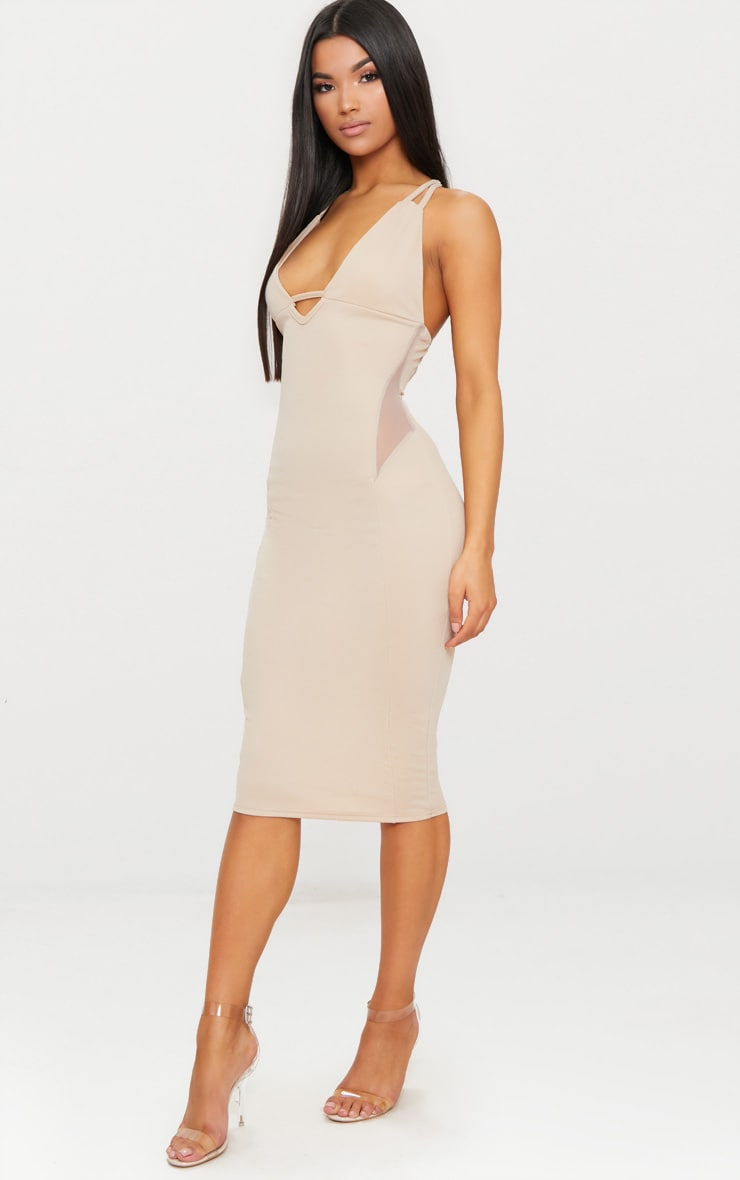 Nude Strappy Mesh Panel Midi Dress 1