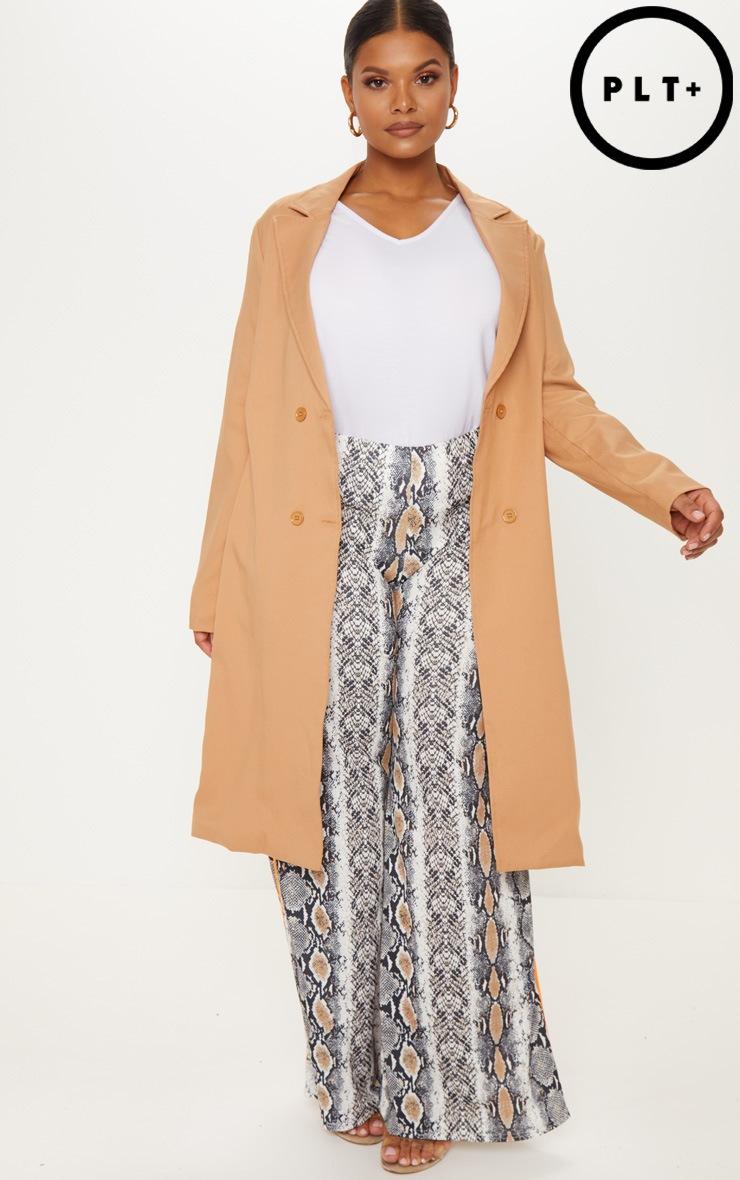 PLT Plus - Trench coat oversized texturé marron