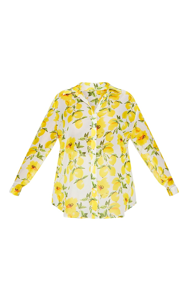 Plus Lemon Print Oversized Shirt  3