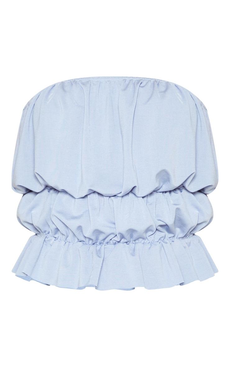 Baby Blue Acetate Slinky Ruched Hem Bandeau Top 3