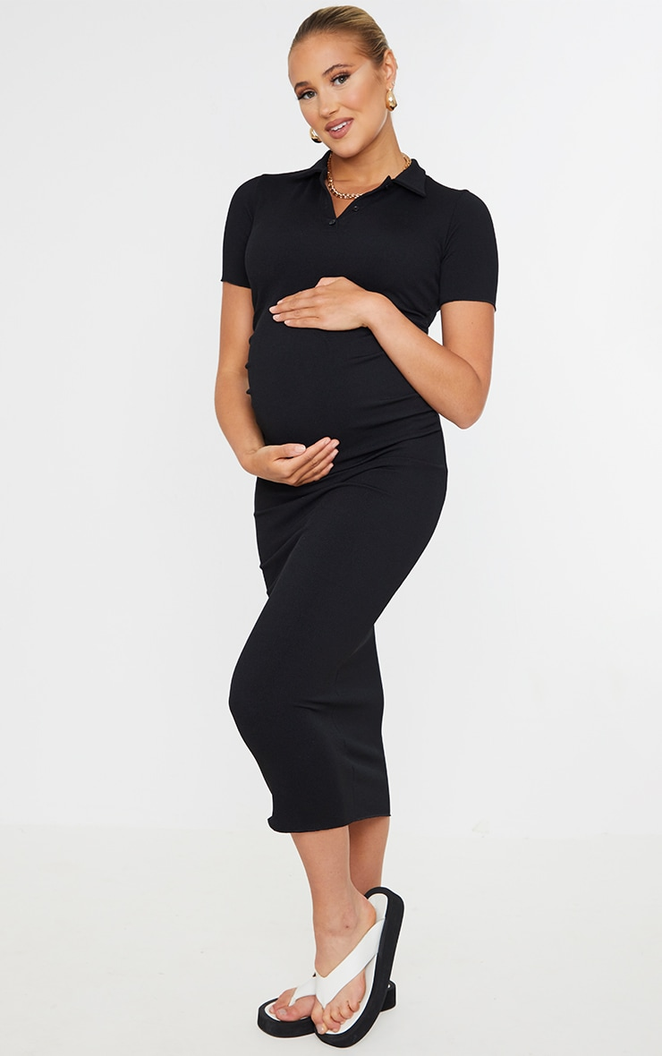 Maternity Black Ruched Side Polo Midi Dress 1