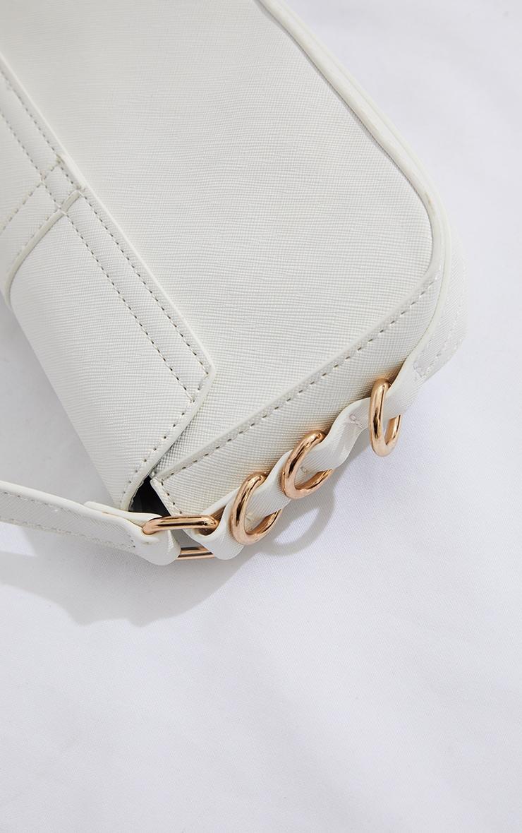 White PU Ring Detail Saddle Shoulder Bag 2
