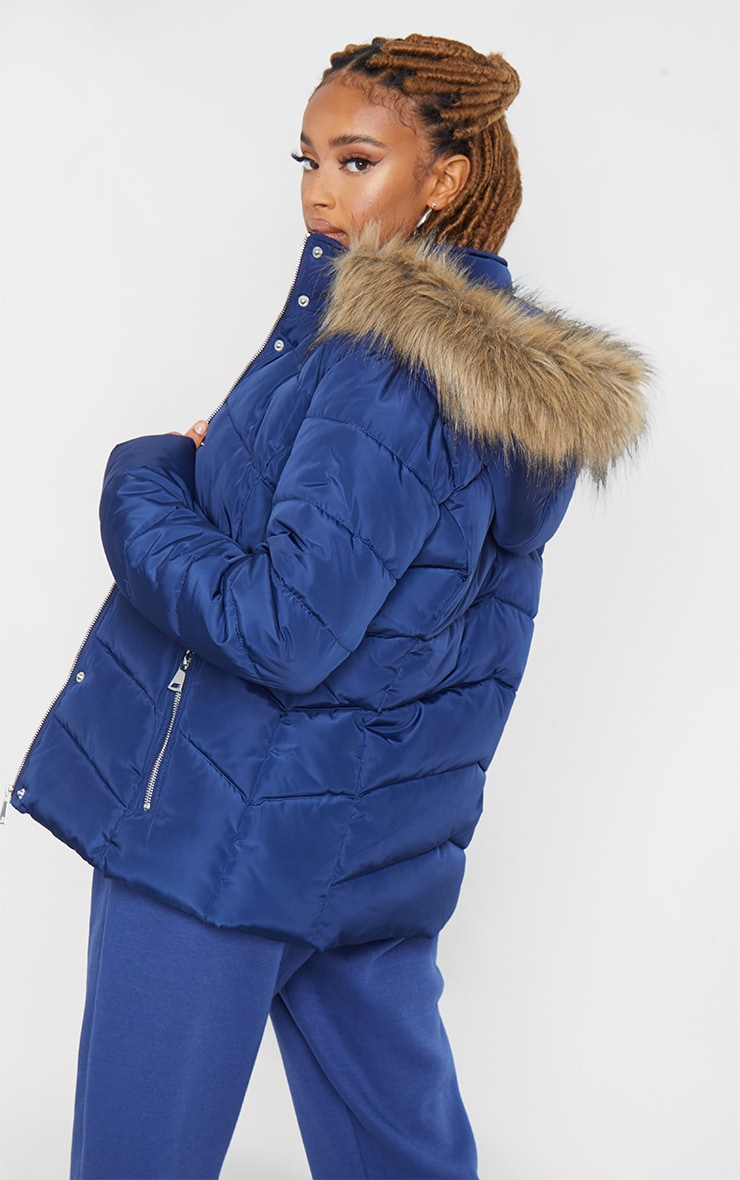 Blue Quilted Mara Faux Fur Hooded Puffer Jacket 1