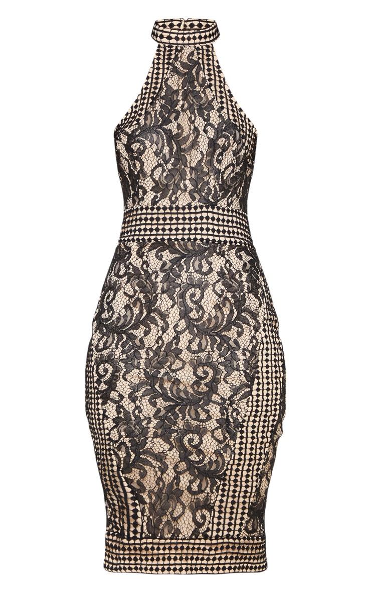 Black Lace Crochet High Neck Midi Dress 3