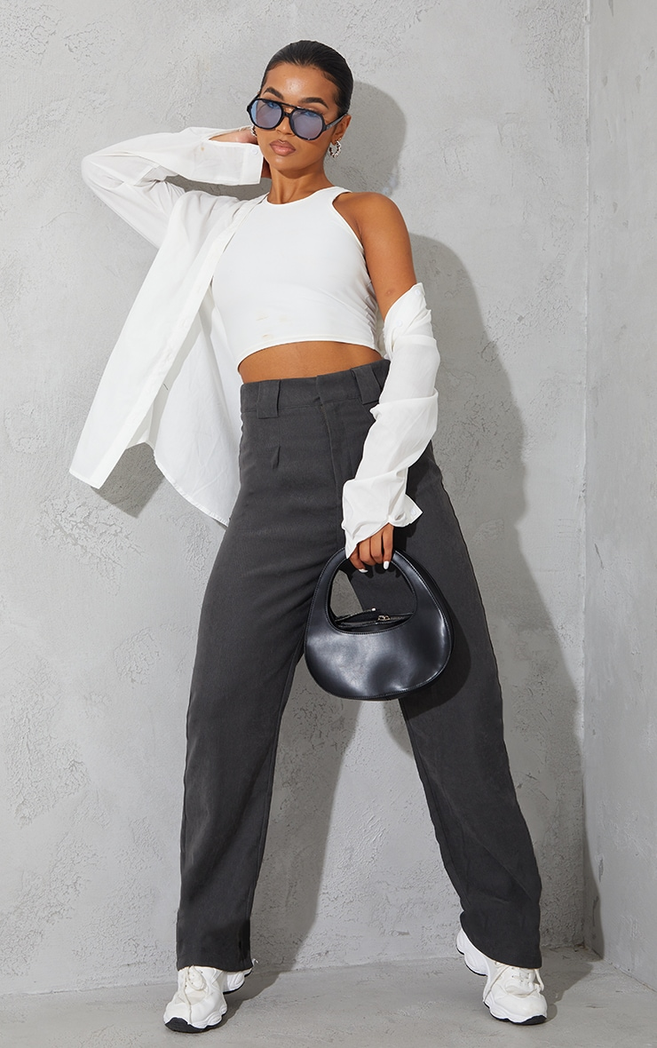 Charcoal Grey Premium Twill Blend Pleat Detail Trousers 1