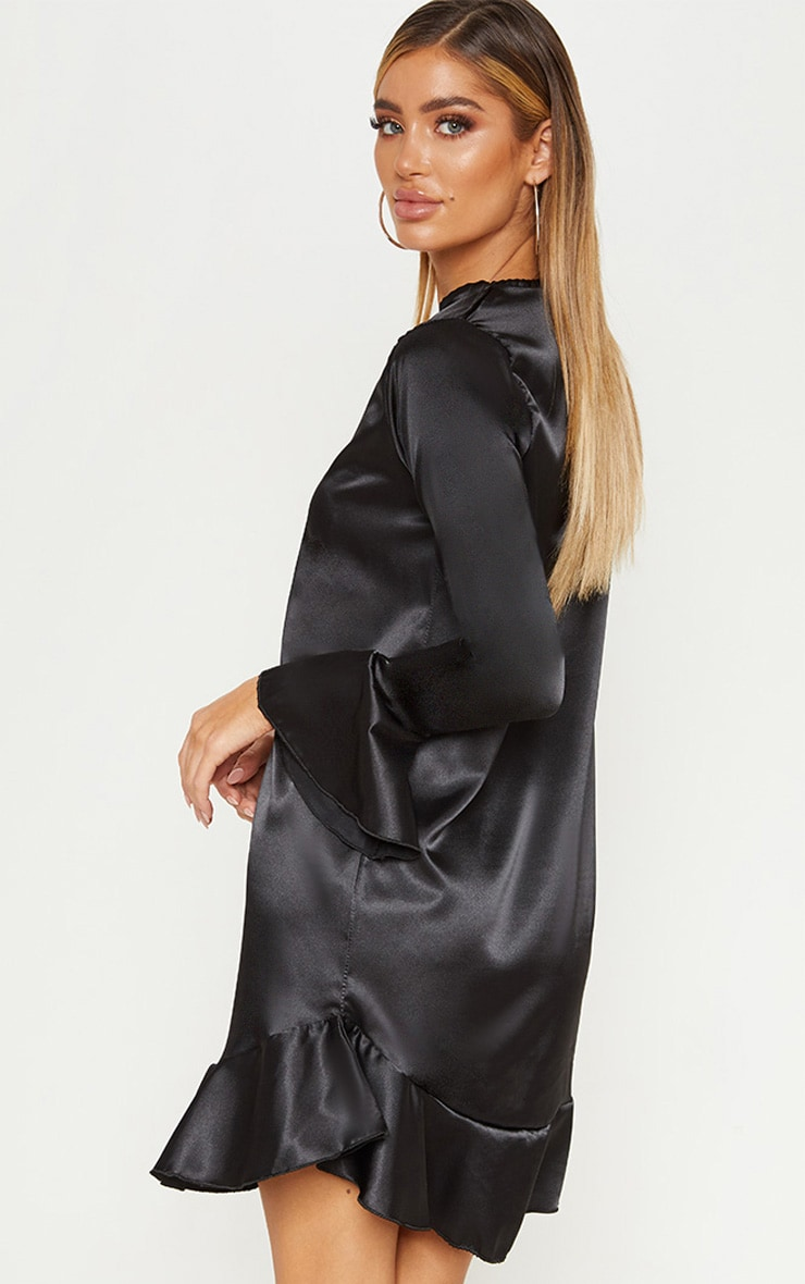 Black Satin Frill Hem Shift Dress 2