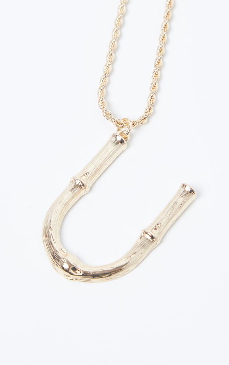 Gold U Bamboo Letter Necklace 4