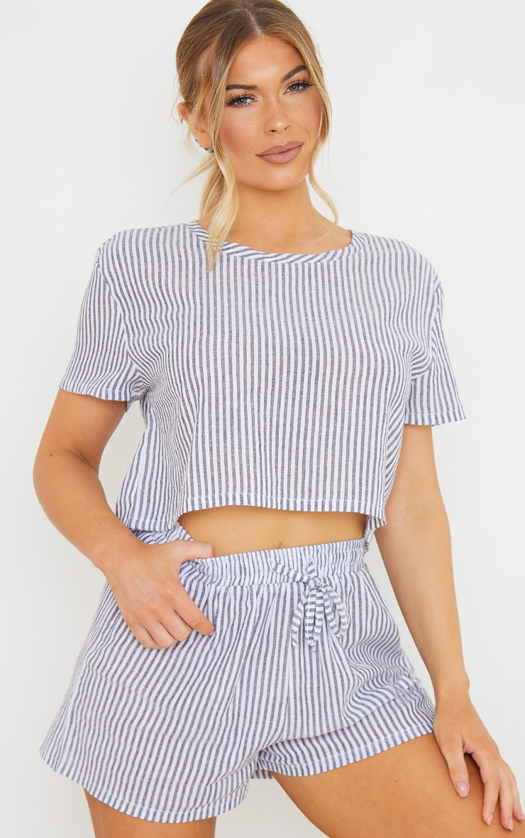 Grey Striped Cotton Cropped Short Sleeve Top And Shorts PJ Set With Scrunchie