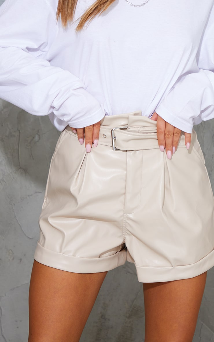 Stone Belted Faux Leather Turn Up Hem Shorts 5