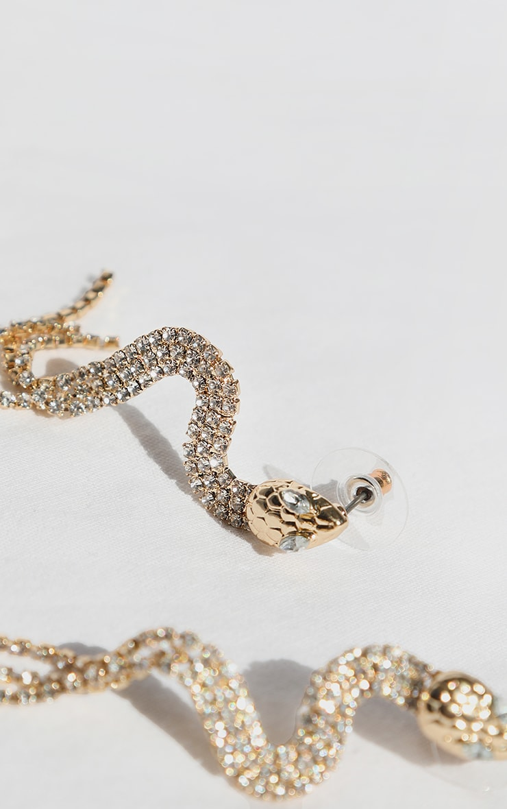 Gold Diamante Snake Tassel Earrings 2