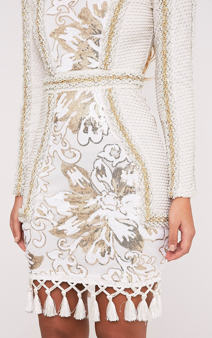 Nhyla White Premium Embellished Sequin Bodycon Dress 7