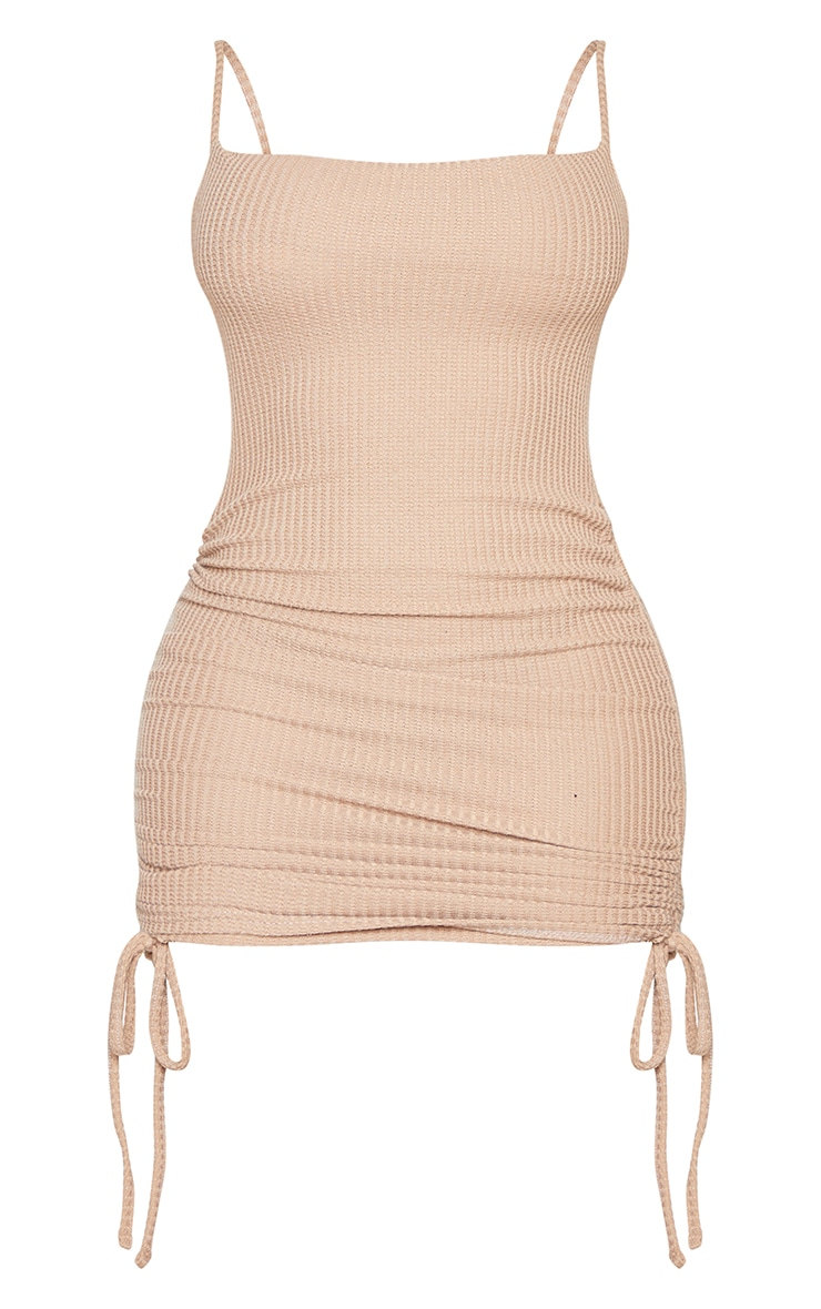 Shape Soft Brown Textured Ruched Side Bodycon Dress 5