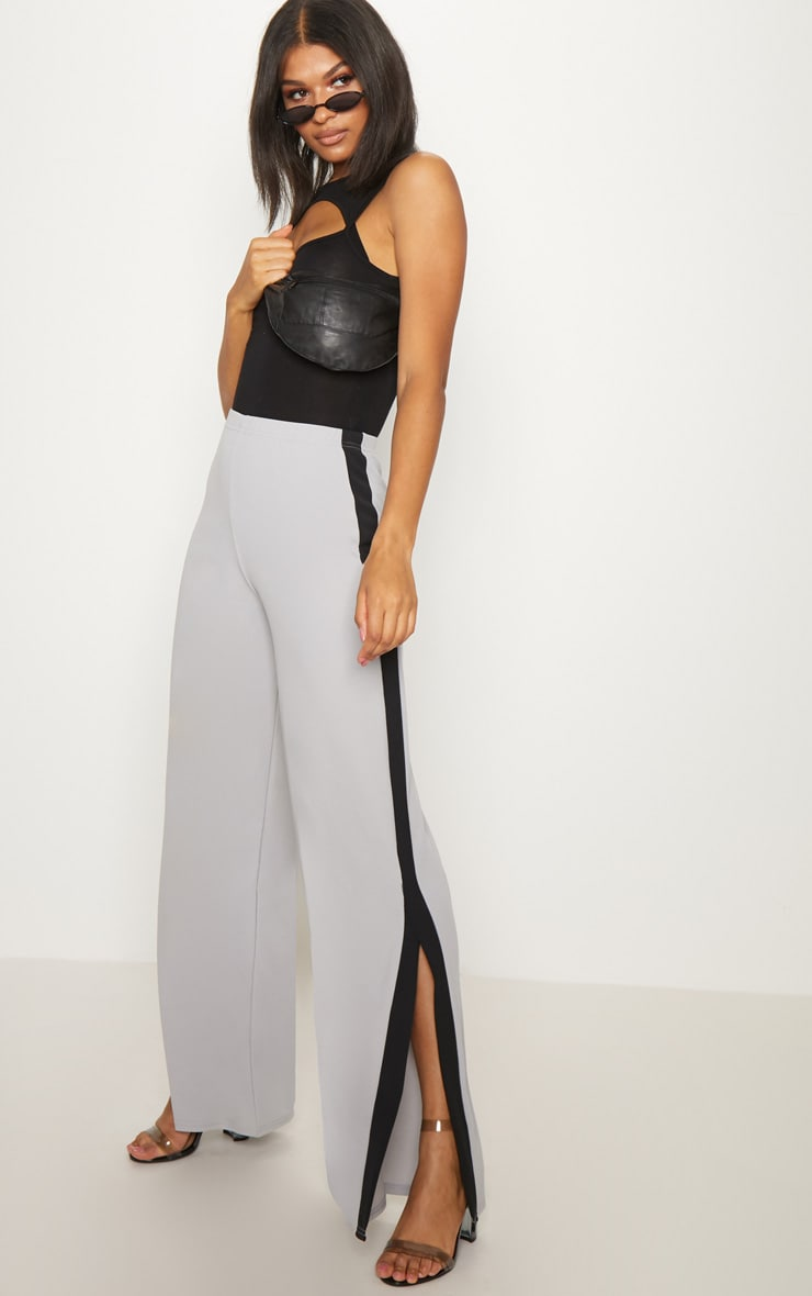 Grey Contrast Side Panel Split Hem Wide Leg Trousers 1