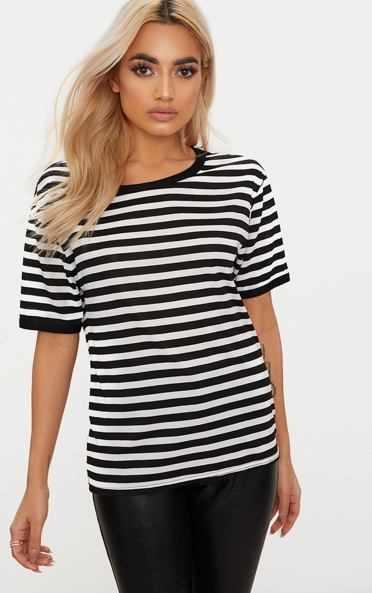 Black Contrast Stripe Fitted T Shirt  1