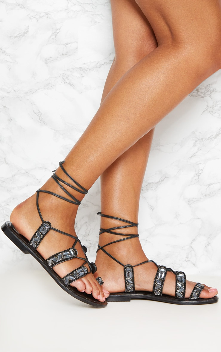 Black Jewel Sandals