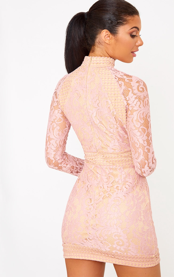 Dusty Pink Lace High Neck Bodycon Dress 2