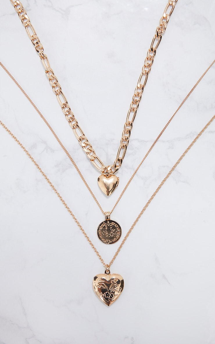 Gold Triple Layered Heart Necklaces 3