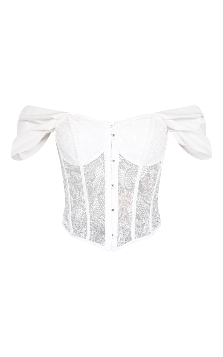 White Lace Bardot Hook And Eye Corset 3