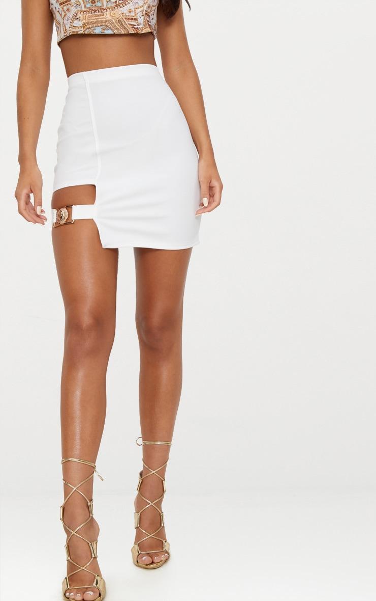 White Lion Head Buckle Detail Mini Skirt  2