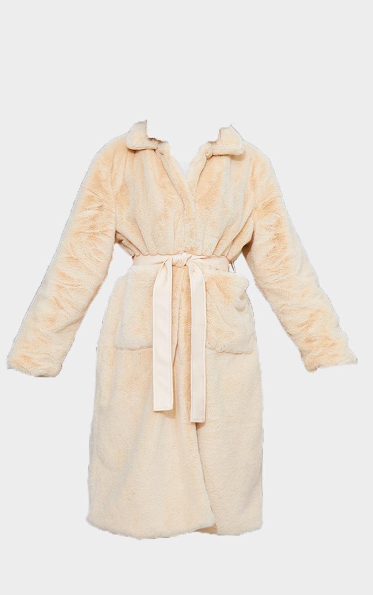 Cream Soft Faux Fur Maxi Pu Belted Midi Coat 5