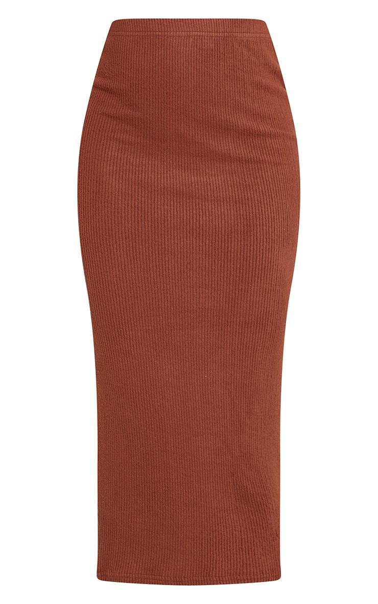 Chocolate Brown Brushed Rib Midaxi Skirt 5