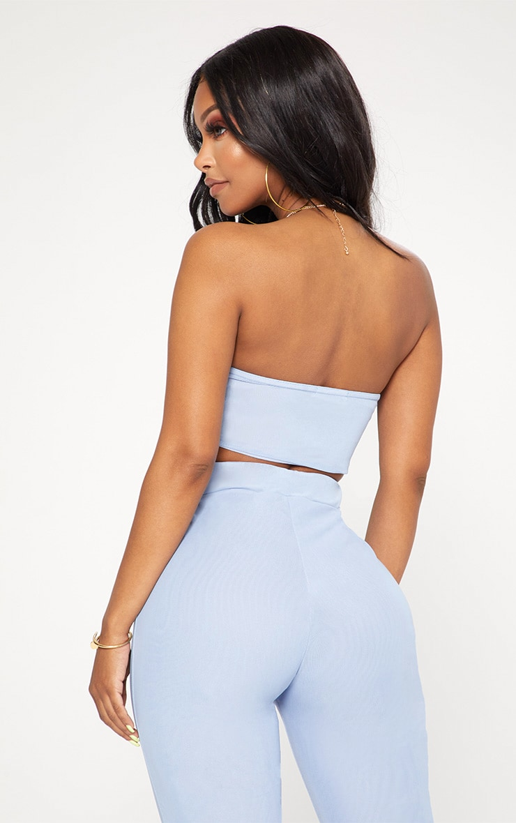 Shape Light Blue Mesh Bandeau Crop Top 2