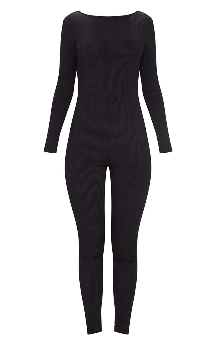 Black Ribbed Long Sleeve Scoop Back Jumpsuit 3