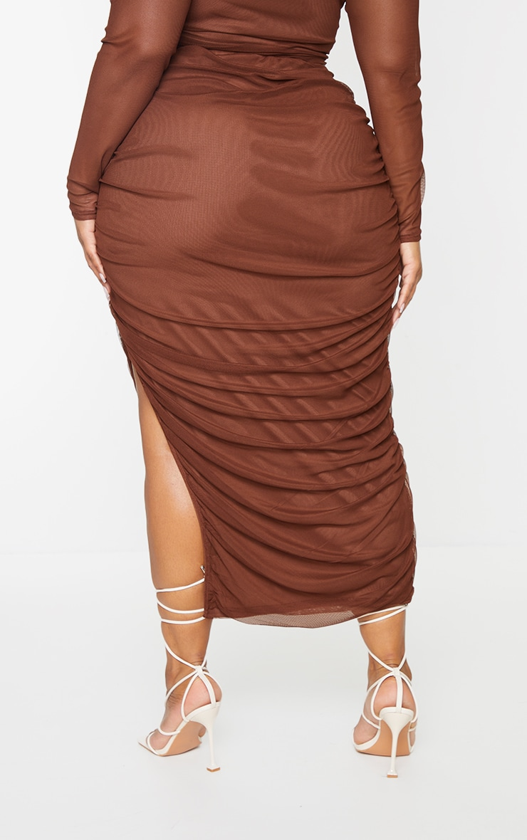 Plus Chocolate Layered Mesh Ruched Split Detail Maxi Skirt 3