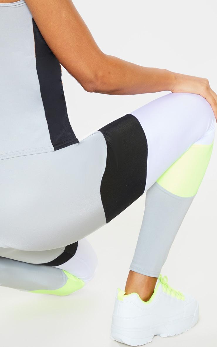 Grey Neon Panel Gym Leggings  4