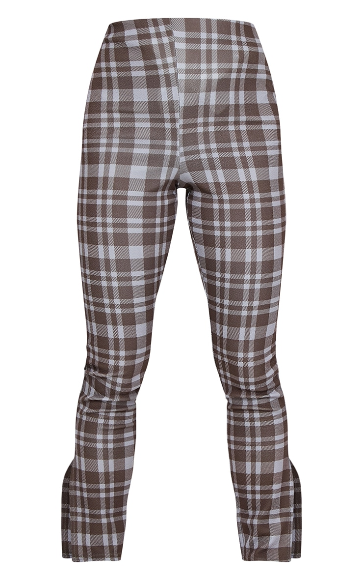 Petite Brown Checked Split Hem Trousers 5