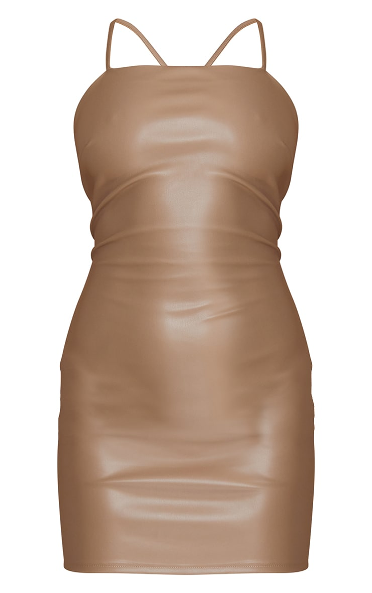 Nude PU Strappy Lace Up Back Bodycon Dress 5