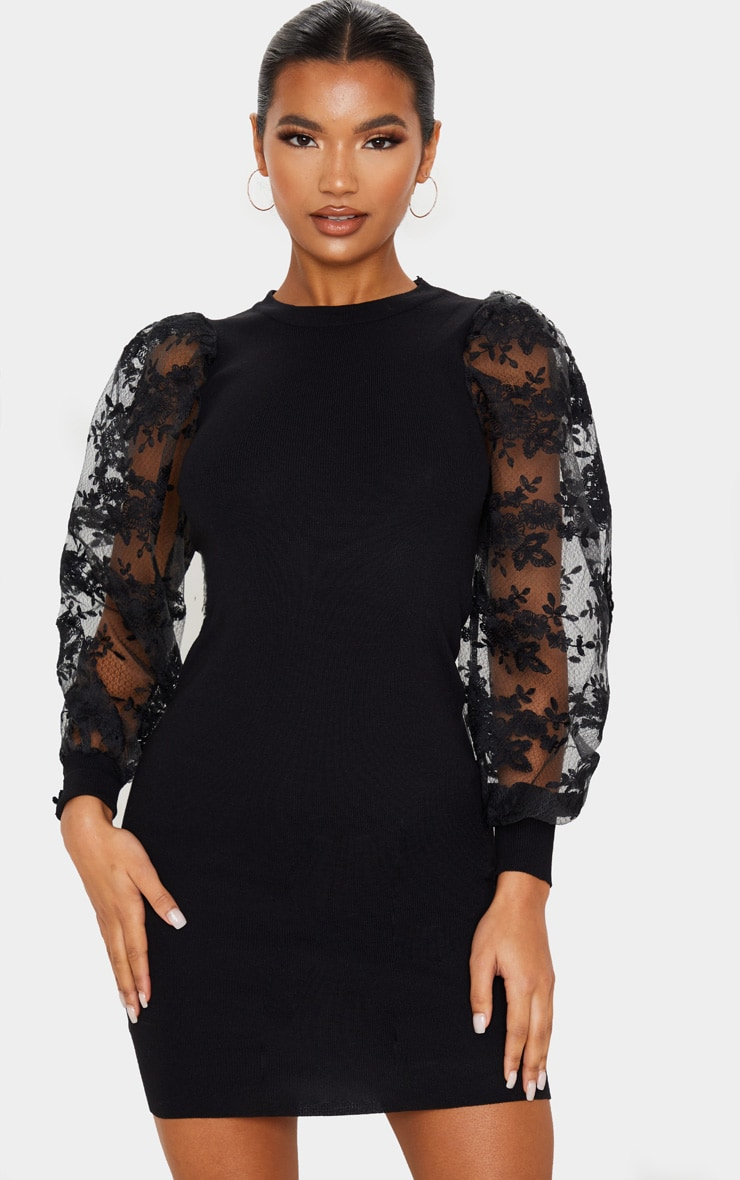Black  Embroidered Mesh Sleeve Knitted Dress