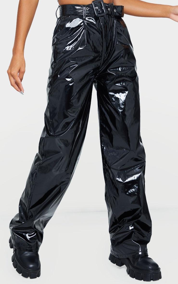 Black Vinyl Belted Wide Leg Pants 2