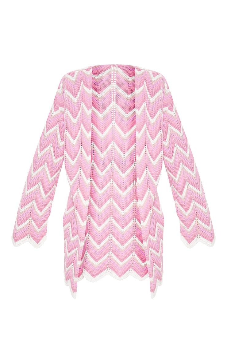 Pink Zig Zag Midi Cardigan 3