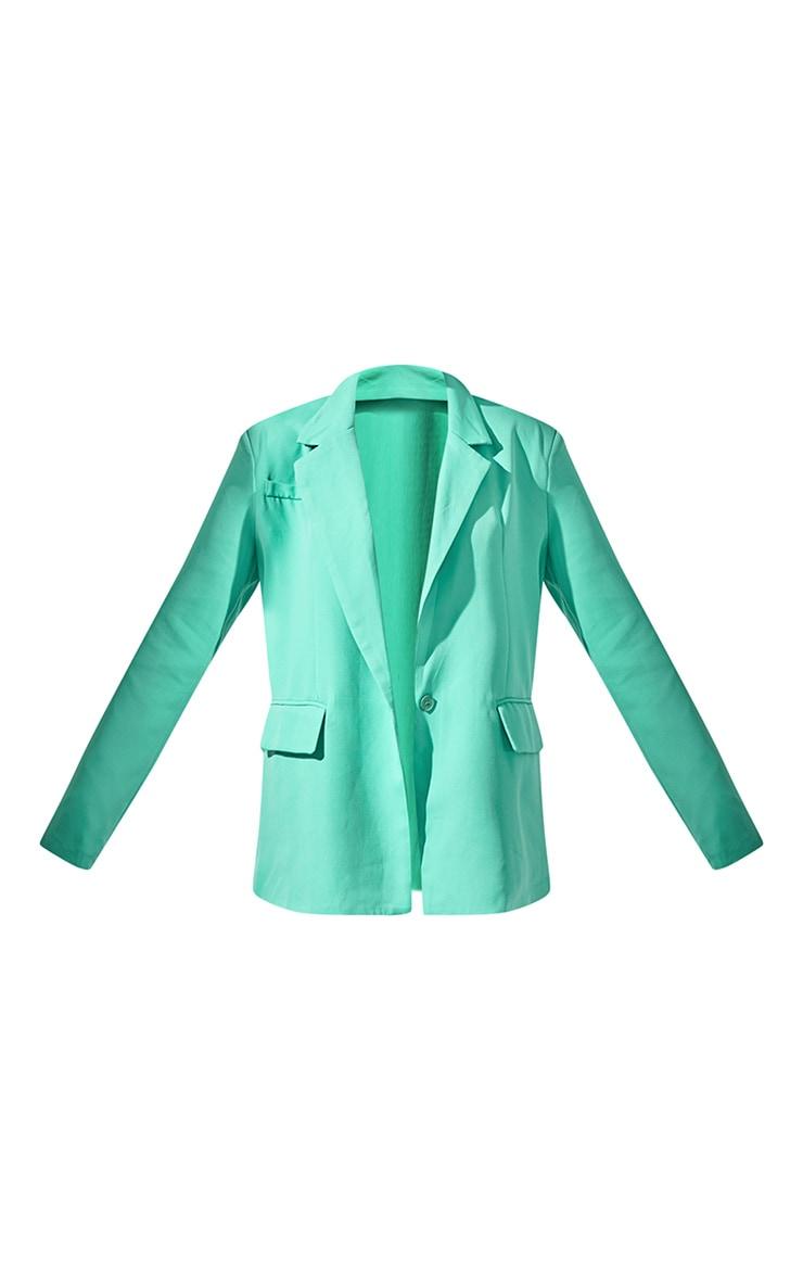 Green Single Breasted Shoulder Padded Blazer 5