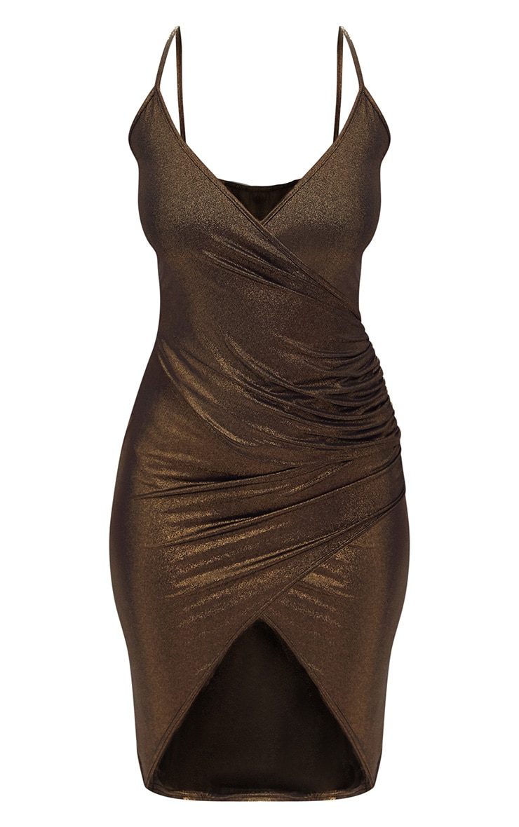 Gold Drape Front Ruched Wrap Over Midi Dress  3