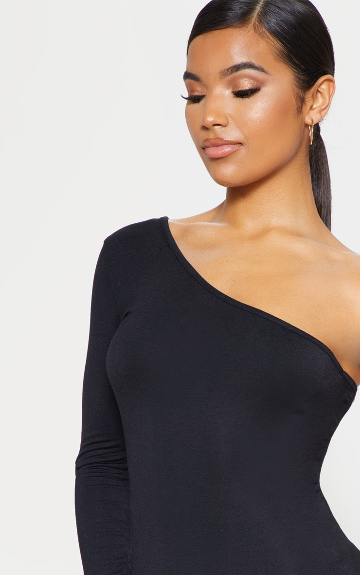 Black One Shoulder Long Sleeve Bodycon Dress  5