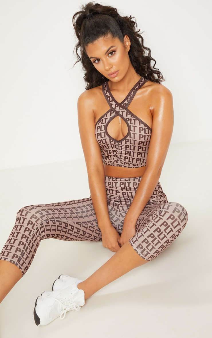PRETTYLITTLETHING Stone Keyhole Strappy Back Crop Top 2