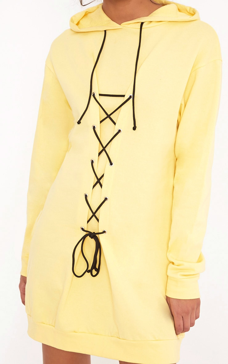 Bexie Contrast Black Lace Up Hooded Sweater Dress Yellow 5