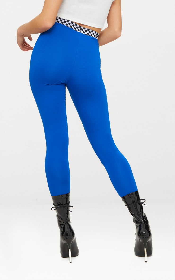 Cobalt Checkerboard Trim Leggings  4