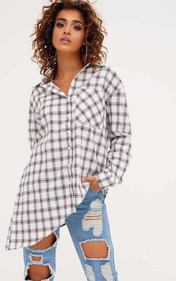 White Check Oversized Asymmetric Hem Shirt 1