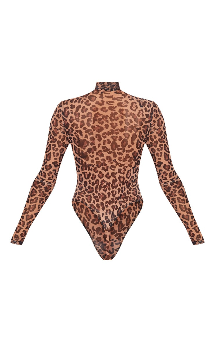 Brown Leopard Printed Mesh High Neck Bodysuit 5