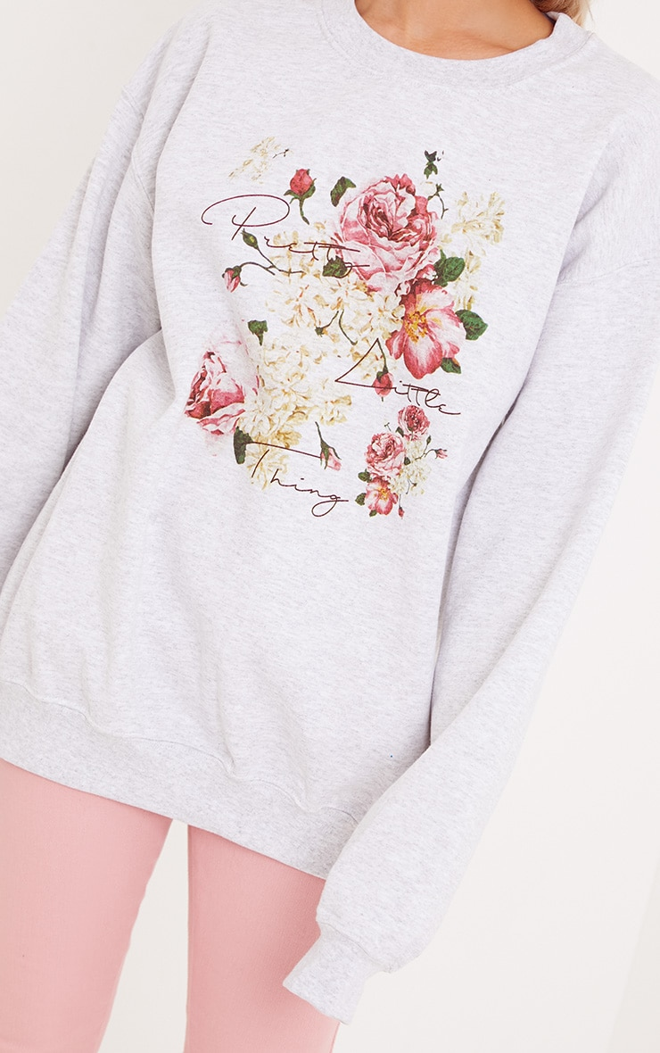 PrettyLitteThing Grey Floral Print Sweater 5