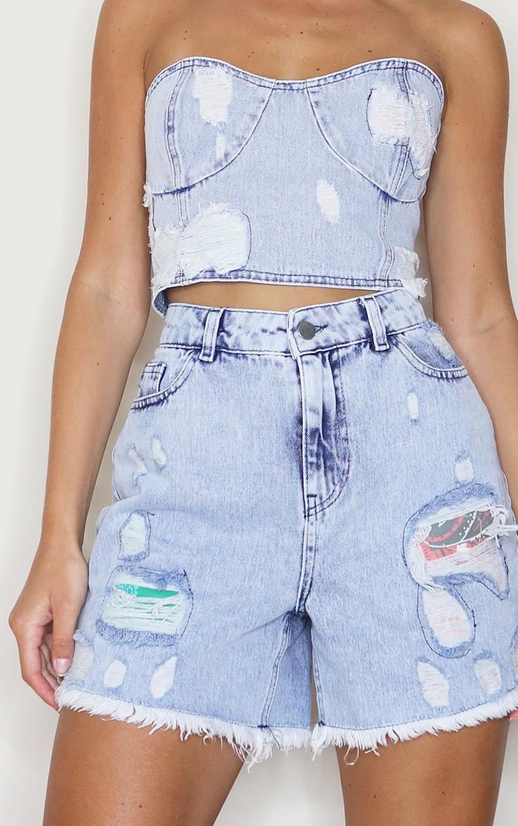 Light Blue Wash Scarf Print Distressed Denim Mom Shorts 5