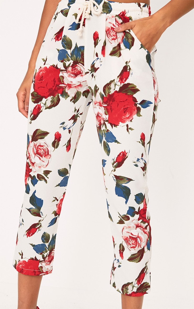 Cream Floral Casual Trousers 5