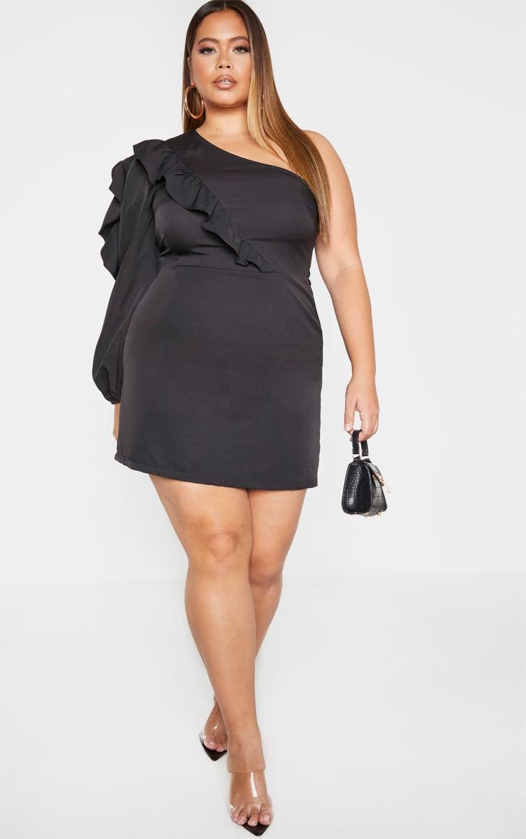 Plus Black Asymmetric Frill Detail Shift Dress 4