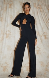 Recycled Tall Black Contour Jersey Under Bust Wide Leg Jumpsuit 3
