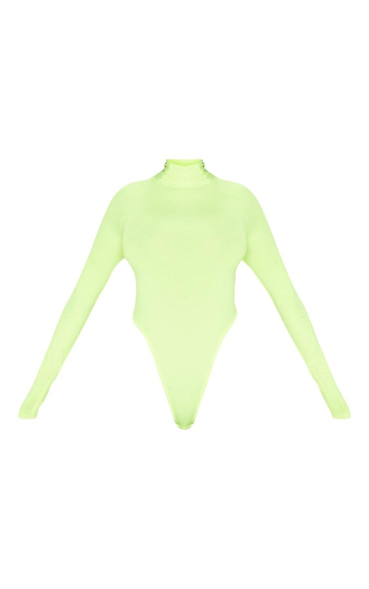 Neon Yellow Slinky High Neck Long Sleeve Bodysuit  3